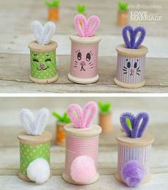 Adorable Easter bunny craft from thread spools. crafts for seniors Easter Bunny Craft: Thread Spool Bunnies Bunny Crafts, Easter Crafts For Kids, Crafts To Make, Easter Decor, Easter Centerpiece, Spring Crafts, Holiday Crafts, Wooden Spool Crafts, Wooden Spools