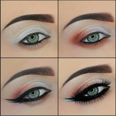 """a delicate """"V"""" shape.  Apply Aqua in the space between the two liner wings with a liner brush."""