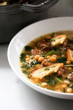 May try slow cooking it-->Kale, Chickpea and Chicken Soup with Rosemary Croutons, it's what's for dinner tonight. Fall Recipes, Soup Recipes, Cooking Recipes, Healthy Recipes, Slow Cooking, Recipies, Cooking Tips, Chickpea Soup, Chicken Chickpea