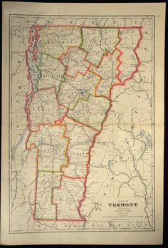 Vermont County Map Vermont LARGE Antique Colorful