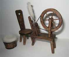 Tudor Spinning wheel chair and wool basket by Insomesmallwayminis