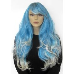 Blue and platinum blonde dip dye wig with loose curls Kylie (165 BRL) ❤ liked on Polyvore featuring beauty products, haircare and hair styling tools