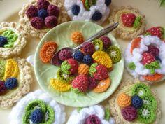 Fruit Desserts, Crochet Pattern, Sweet Meringue and Custard Tartlet Selection. via Etsy