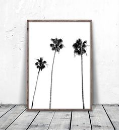 Palm Tree Print Palm Print Palm Tree Photography Black and Palm Tree Art, Tree Wall Art, Palm Trees, White Beach Houses, Black And White Beach, Black And White Wall Art, Tropical Home Decor, Bathroom Plants, Beach Wall Art