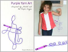 3-D Yarn Art for Kids Inspired by the children's book, Harold and the Purple Crayon