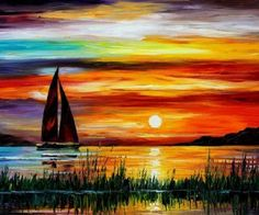 sunset paintings leonid afremov sailboats oil painting HD Wallpaper