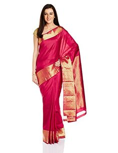 IndusDiva Red Bangalore Silk Handloom Saree IndusDiva…