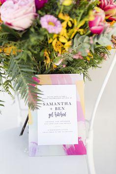 Bright summer brush stroke acrylic wedding invitation   Lyndal Carmichael Photography
