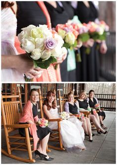 bride and bridesmaids in rocking chairs - top photo!