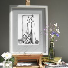 A Mirror View Sketch opened this July. The bride rang to say 'thank you' and I just love that!!! A first anniversary gift organised by a loving husband who had found Wedding Dress Ink through Google. He wanted to give a 'paper' gift.  www.weddingdressink.com/new-shop  #WeddingDressInk #GiftGuide  #WeddingGiftVoucher #BestWeddingGiftEver #bestweddingpresentever #firstanniversarygift #anniversarygift #weddinggiftideas #weddinggift #luxuryweddinggift #weddingdressportrait Wedding Dress Illustrations, Fashion Illustration Dresses, Custom Wedding Dress, Wedding Dresses, Luxury Wedding Gifts, Custom Mirrors, First Anniversary Gifts, Custom Wrapping Paper, Paper Gifts