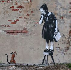 Rat and a girl | artist: Banksy | location: New Orleans
