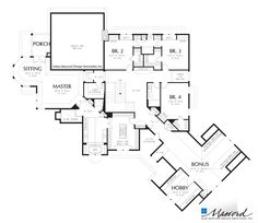 Upper Floor Plan of Mascord Plan 2449 - The Hallsville - Large European Country Design with Angled Garage