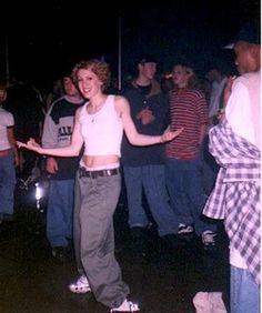 '90s B-Girl and how cute is her 'do? And yes, she's rocking the boxers. #megabuzz #bgirls #the 90s #raves #ravers #raving