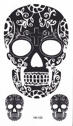 Skull Temporary Tattoo, Small Wrist Tattoo, Black Henna Tattoo, Tribal Tattoo, Mexican Tattoo, Indian, Cinco De Mayo, Day of the Dead