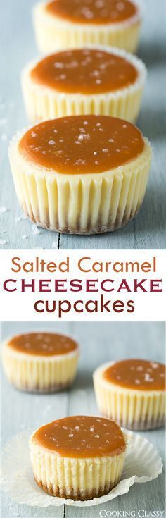 Salted Caramel Cheesecake Cupcakes - these are one of my favorite desserts! Always a hit! (Sweet Recipes Cookies)