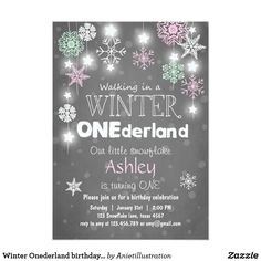 Winter Onederland birthday party invite Mint pink ♥ A perfect way to invite your guests to a winter onederland birthday party, for your little one's first birthday!