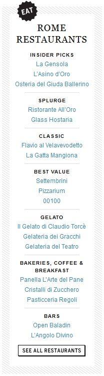 Rome restaurants - Food&Wine Magazine