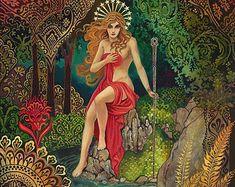 Meditrina Roman Goddess of Wine 11x14 Art Nouveau by EmilyBalivet