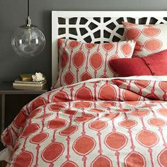 Modern Bedroom with Red Bedding