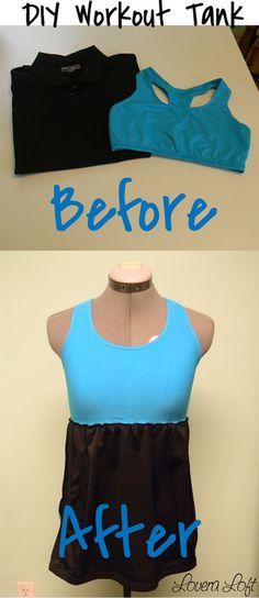 DIY workout tank tutorial. Made from a shirt & sports bra!