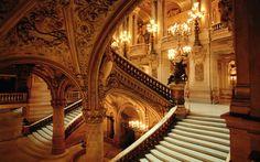 Staircase inside the Paris Opéra, designed by Beaux Arts architect Charles Garnier, built (Yea Verily) Paris Opera House, Hotel Paris, Architecture Cool, Architecture Wallpaper, Charles Garnier, French Castles, Fantasy Castle, Fairytale Castle, Second Empire