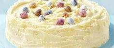 Frosted white chocolate Easter cake