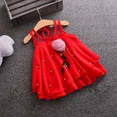 Hopscotch - Momo - Red Cute Flower Applique Dress