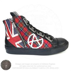 A suitably disrespectful pair of anti-establishment, ankle-high sneakers with black soles, outside zip and made in tartan fabric with printed, eroded Union Jack and anarchy graffiti. Finished off with wide black laces fastening two rows of metal razor blade eyelets.     Product Description Red tartan canvas, side-zip sneaker with black rubber sole & toe …