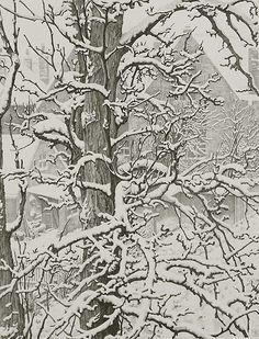 Sneeuw, Veere (Snow, Veere, Holland) - DIRK VAN GELDER. Lithograph, 1941.