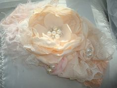Exquisite Blush Pink and Pale Peach Headband by lepetitejardin, $28.95