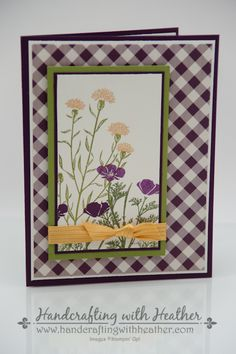 handmade card ... Wild about Flowers ... gingham print in background ... off-center focal panel wrapped with knotted ribbon ... Stampin' Up!