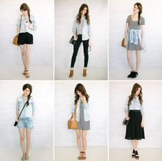 six ways to wear your chambray shirt. / i need a light one for summer!