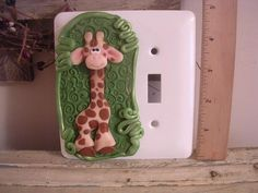 Light switch plate polymer clay CLAYKEEPSAKES Giraffe