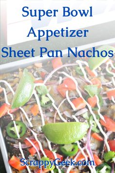 A Super Bowl appetizer recipe for the football party! Game Day Food! Football Food! Super Bowl Food! Try this sheet pan nachos for the best tasting appetizer for your game day festivities! #superbowl #food #superbowlfood #superbowlappetizers #superbowlapps #superbowlfood #sheetpan #sheetpannachos #nachos Easy Dinners, Easy Dinner Recipes, Delicious Recipes, Appetizer Recipes, Appetizers, Recipe Tips, Recipe Ideas, Veggie Straws, Recipe Maker