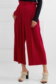 Sonia Rykiel - Pleated Crepe Wide-leg Pants - Red - FR40