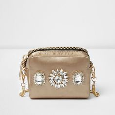 River Island Gold jewelled mini cross body bag ($44) ❤ liked on Polyvore featuring bags, handbags, shoulder bags, bags / purses, cross body bags, gold, women, chain shoulder bag, chain strap crossbody and mini shoulder bag