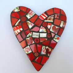 Mosaic Heart in Reds - Mosaic