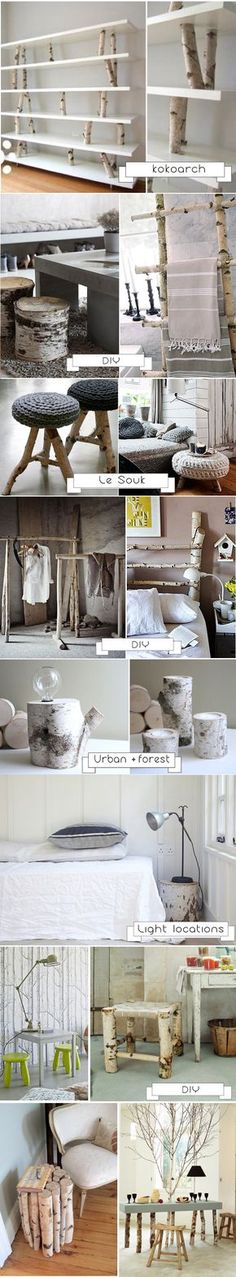 I want those shelves, but out of driftwood instead of aspen - Decoration for House Diy Holz, Diy Décoration, Diy Crafts, Home And Deco, My New Room, My Dream Home, Home Projects, Diy Furniture, Diy Home Decor
