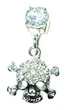 """Gemstone Skull belly ring. .925 sterling silver skull is lined with prong set, clear, faceted gemstones. Reverse mounted on a curved barbell, the skull will hand in front of the belly button. 316L surgical steel, 14 gauge, 3/8"""" length curved barbell. $19.95 #bellyrings #piercings #skulls  want want want want want!"""