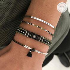Two Sided Bracelet - Army Green Beaded Braclets, Bead Loom Bracelets, Bracelet Set, Homemade Jewelry, Diy Jewelry, Beaded Jewelry, Jewellery, Loom Bracelet Patterns, Diy Friendship Bracelets Patterns