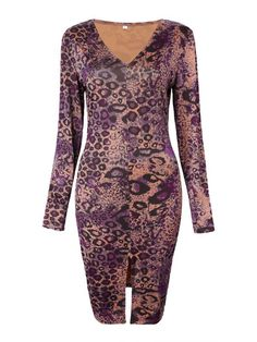 Sexy dresses discount code sexy leopard v neck split women bodycon dress #sexy #dresses #cheap #sexy #dresses #discount #code #sexy #dresses #online #sexydresses.com #coupon #code
