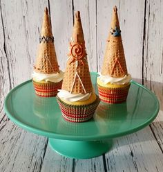 Teepee cupcake toppers made from sugar cones and royal icing. :)  Baked Bliss, Williston ND