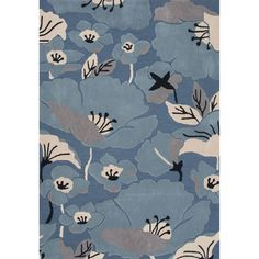 Jaipur Rugs Modern Floral Pattern Blue/Taupe Polyester Area Rug FLO01 (Rectangle)