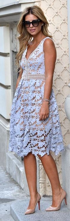 lace overall midi dress w/ embellishments.  great color for summer tan.