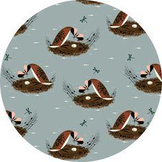 Charley Harper for Birch Organic Fabrics, Bird Architects, Horned Grebe