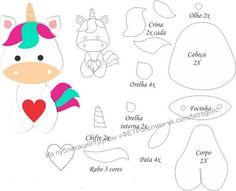Risultati immagini per molde unicornio em feltro Felt Animal Patterns, Stuffed Animal Patterns, Stuffed Animals, Unicorn Birthday, Unicorn Party, Baby Unicorn, Baby Crafts, Felt Crafts, Sewing Crafts