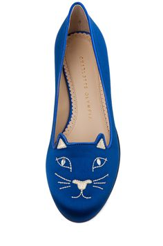 Blue and white kitty flats