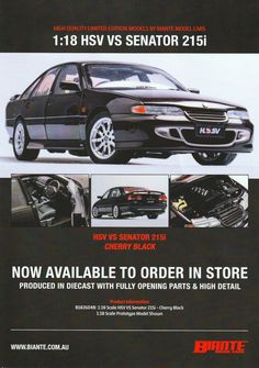 HSV VS Senator in Cherry Black. Model features opening doors, boot and bonnet to reveal detailed engine. Comes with certificate of authenticity. This model is due quarter of Authenticity, Certificate, Diecast, Engine, Cherry, Doors, Model, Black