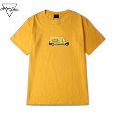 Street wear Casual Couple Clothes Men Express Truck Cartoon Printing Yellow T Shirt Cotton Man Half Sleeves Tops Tee