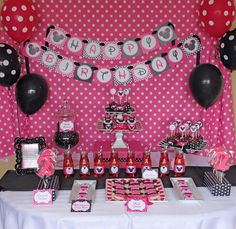 Minnie Mouse Birthday Party. I won't go all out for a 2 year old, but I like the colors and the idea of having a backdrop.